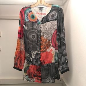 DESIGUAL COLORFUL, SHEER BOHO BLOUSE